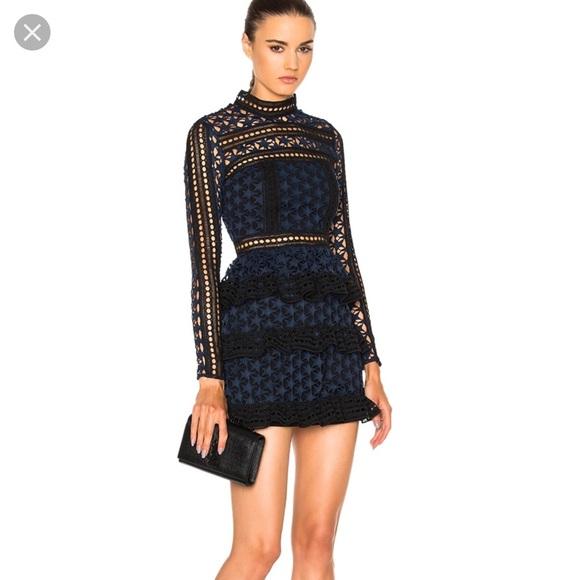 1a99cc341b6ab Self-Portrait Blue Star Lace High Neck Mini Dress.  M_5c5defd734a4efadc143ff1d